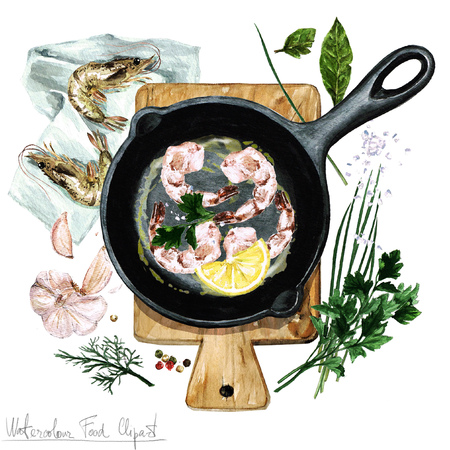cast iron: Watercolor Food Clipart - Shrimp on a frying pan Stock Photo