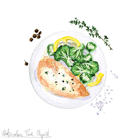 Watercolor Food Clipart - Chicken