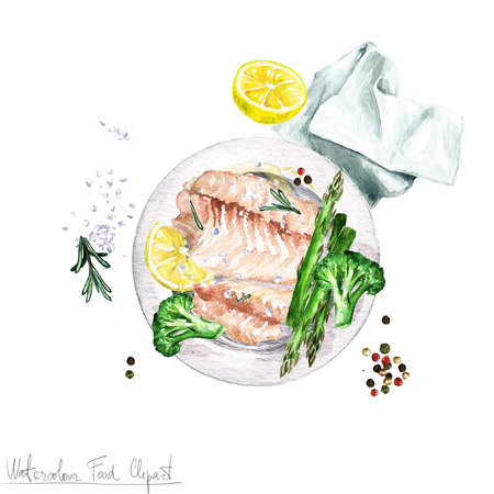 food clipart: Watercolor Food Clipart - Fish