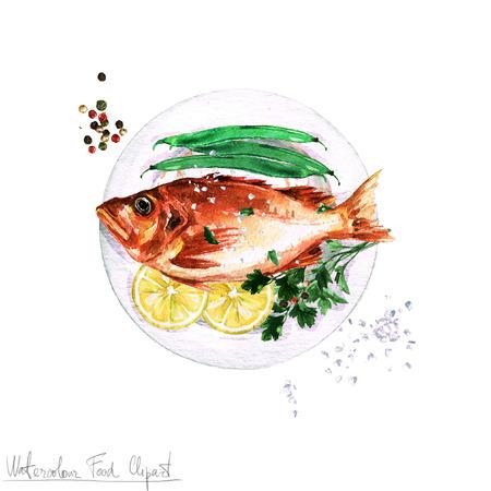 Watercolor Food Clipart - Fish