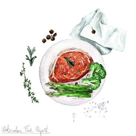 steak plate: Watercolor Food Clipart - Pork chop