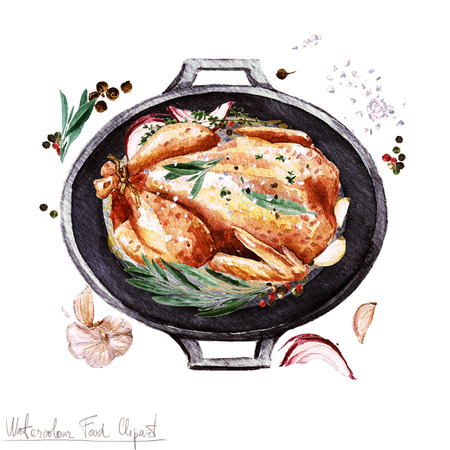 whole chicken: Watercolor Food Clipart - Chicken in a cooking pot