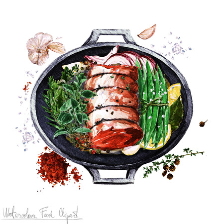 cast iron: Watercolor Food Clipart - Rolled brisket cut in a cooking pot Stock Photo