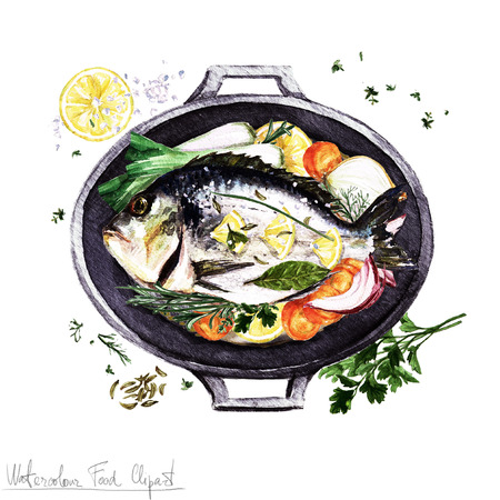 Watercolor Food Clipart -  Fish in a cooking pot Stock Photo