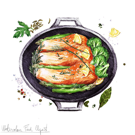 salmon fillet: Watercolor Food Clipart -  Salmon in a cooking pot Stock Photo