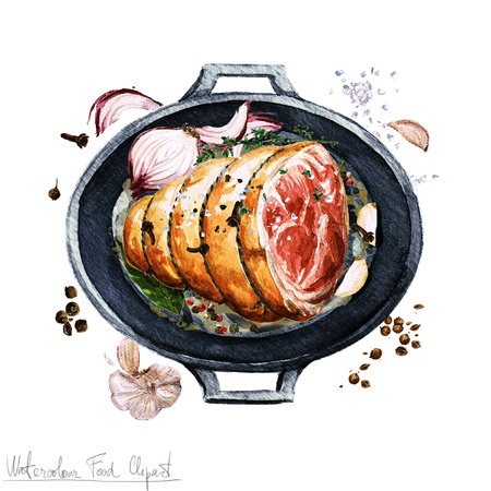 ham: Watercolor Food Clipart - Ham in a cooking pot
