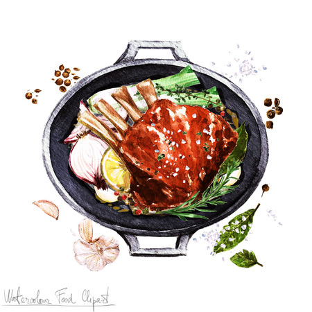 cooking pot: Watercolor Food Clipart - Ribs in a cooking pot