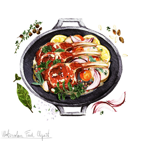 pork ribs: Watercolor Food Clipart - Ribs in a cooking pot