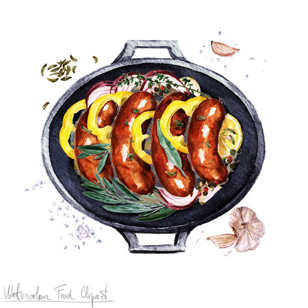 casserole: Watercolor Food Clipart - Sausage casserole in a cooking pot