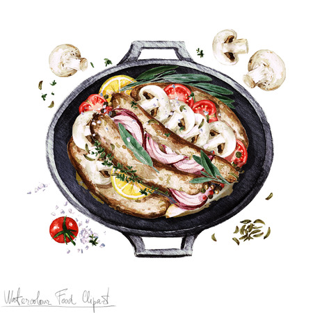 Watercolor Food Clipart - Sausage casserole in a cooking pot