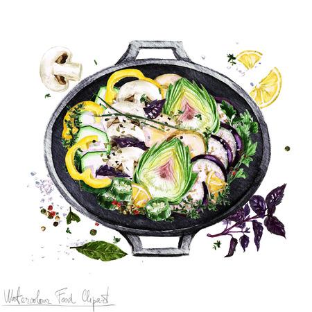 수채화 음식 클립 아트 - 요리 냄비에 야채