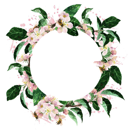 circle objects: Watercolor Round border - Spring Blossom Stock Photo