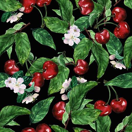 seamless pattern: Watercolor seamless pattern - Cherry Stock Photo