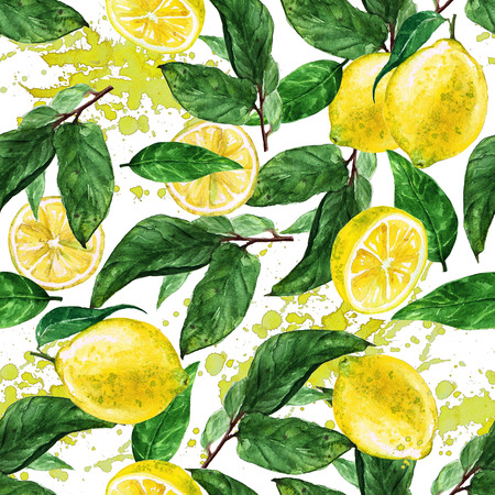 lemon tree: Watercolor seamless pattern - Lemon