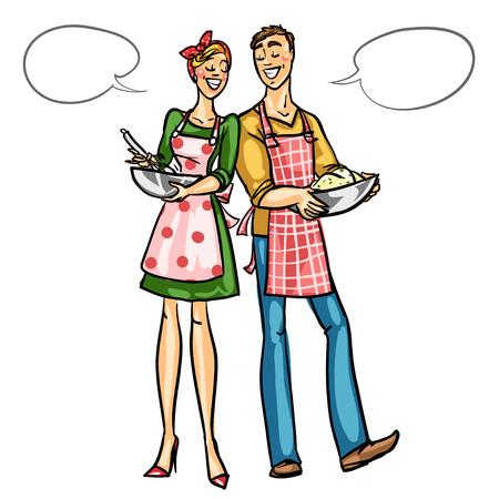 femme dessin: Couple heureux cuisson ensemble isolé sur blanc