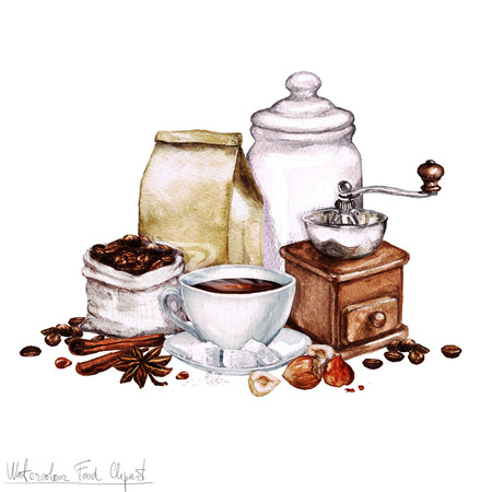 food clipart: Watercolor Food Clipart - Coffee Collection Stock Photo