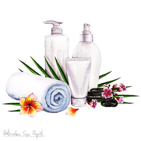 Aquarelle SPA Clipart - Collection de SPA et produits de beauté et d'éléments, isolé Banque d'images - 56638478