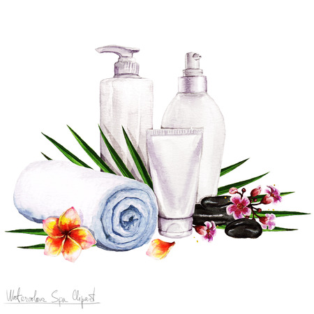towel: Watercolor SPA Clipart - Collection of SPA and Beauty products and elements, isolated
