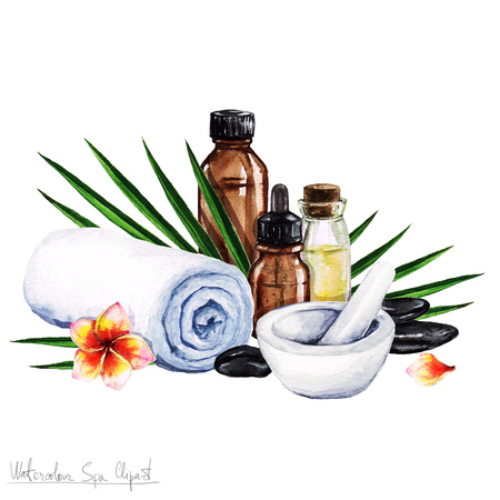 Watercolor SPA Clipart - Collection of SPA and Beauty products and elements, isolated