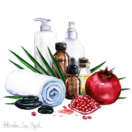 palm oil: Watercolor SPA Clipart - Collection of SPA and Beauty products and elements, isolated