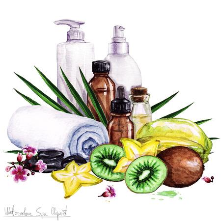 productos de belleza: Acuarela SPA Ilustraciones - Colección de spa y belleza productos y elementos, aislados