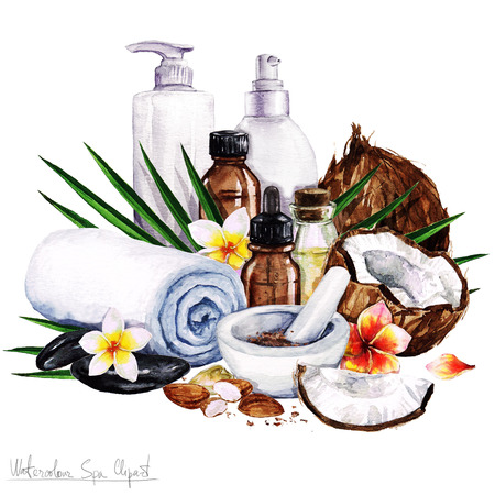 massage stones: Watercolor SPA Clipart - Collection of SPA and Beauty products and elements, isolated