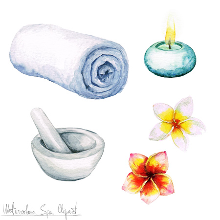 flower bath: Watercolor SPA Clipart - Collection of SPA and Beauty products and elements, isolated