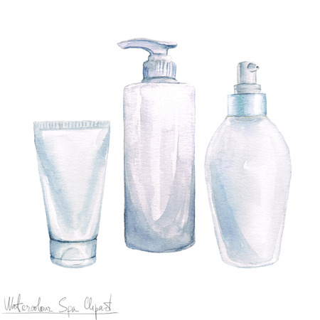 hair treatment: Watercolor SPA Clipart - Collection of SPA and Beauty products and elements, isolated