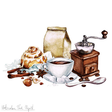 Watercolor Food Clipart - Coffee and Roll