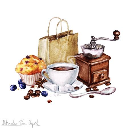Aquarell Lebensmittel Clipart - Kaffee und Muffin Standard-Bild - 56638497