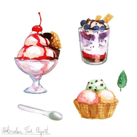 Watercolor Food Clipart - Ice Cream