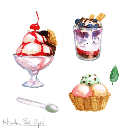 food clipart: Watercolor Food Clipart - Ice Cream