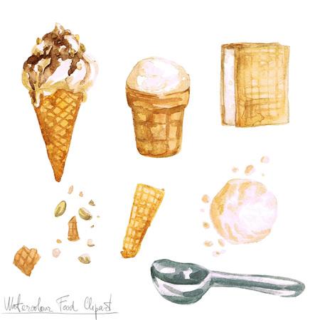 crumb: Watercolor Food Clipart - Ice Cream