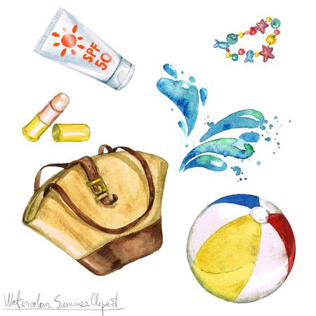 수채화 여름 클립 아트 - 가방, 자외선 차단제, 비치 볼.