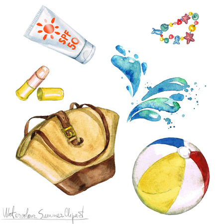 Watercolor Summer Clipart - Bag, Sunscreen, Beach ball.