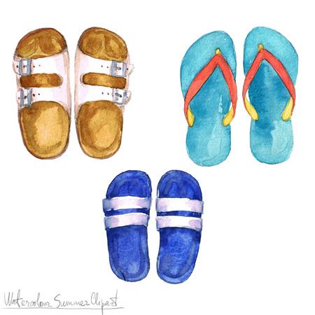 Watercolor Summer Clipart - Flipflops 스톡 콘텐츠