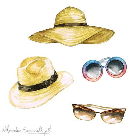 수채화 여름 클립 아트 - 모자와 그늘