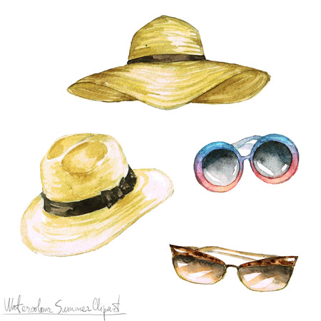 Watercolor Summer Clipart - Hats and Shades