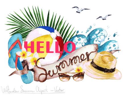 playas tropicales: Acuarela del arte de clip - Marca de verano con letras de madera y objetos a su alrededor, aislado en blanco.