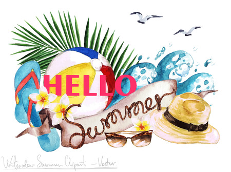 relax: Watercolor Clip art - Summer Label with wooden letters and objects around, isolated on white. Illustration