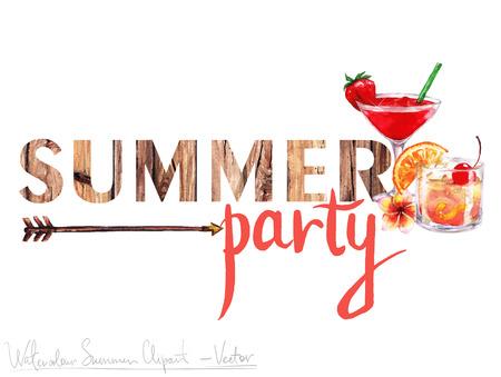 Acuarela del arte de clip - Marca de verano con letras de madera y objetos a su alrededor, aislado en blanco.