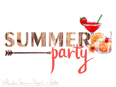 Watercolor Clip art - Summer Label with wooden letters and objects around, isolated on white. Иллюстрация