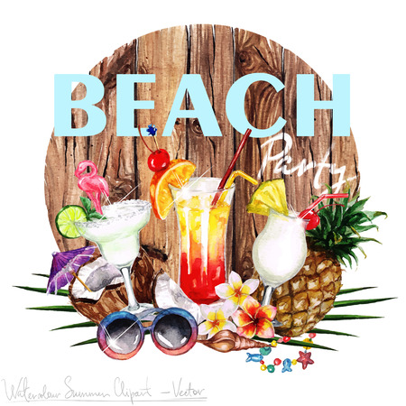 summer holiday: Watercolor Clip art - Summer Label with wooden letters and objects around, isolated on white. Stock Photo