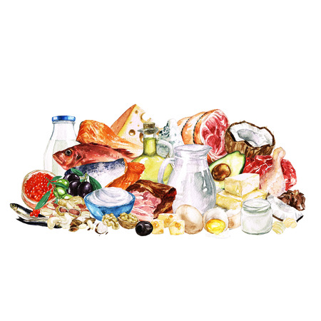 fish oil: Watercolor Food Clipart - Healthy Balanced Nutrition - Fat group Stock Photo
