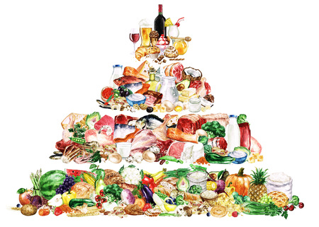 水彩食べ物クリップアート - 健康的なバランスの取れた栄養 - 食品ピラミッド 写真素材