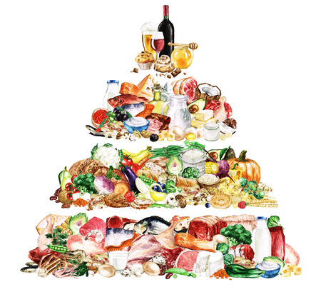 food pyramid: Watercolor Food Clipart - Healthy Balanced Nutrition - High Protein Food Pyramid Stock Photo