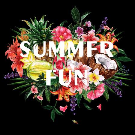 Watercolor Summer Clipart - Summer Fun card design