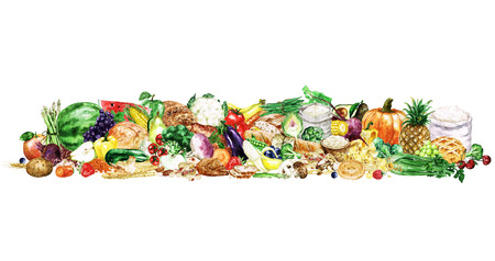 carbohydrate: Watercolor Food Clipart - Healthy Balanced Nutrition - Carbohydrate group Stock Photo