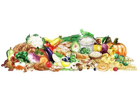 Waterverf het voedsel clipart - gezonde en evenwichtige voeding - koolhydraten groep Stockfoto