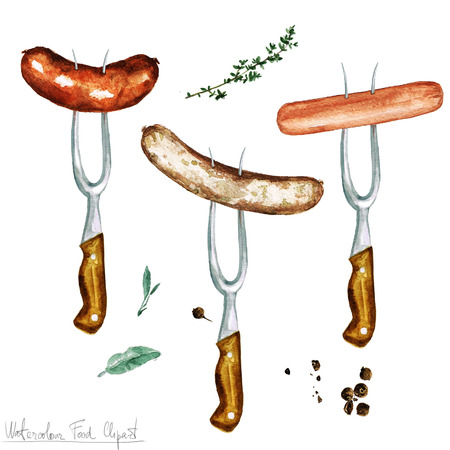food clipart: Watercolor Food Clipart - Sausages